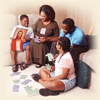 Mormon family at family night.